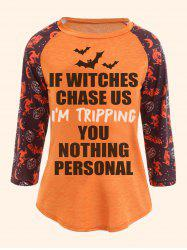 Halloween Printed Raglan Sleeve Plus Size T-shirt -