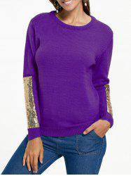 Sequin Insert Pullover Knit Sweater - PURPLE M