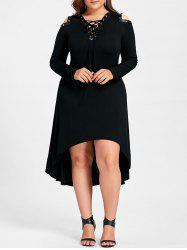 High Low Cold Shoulder Plus Size Midi Dress - Black - 5xl