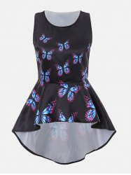 Butterfly Print Sleeveless High Low Blouse - BLACK 2XL