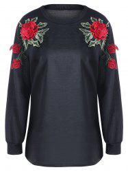 Flower Embroidery Sweatshirt - BLACK 2XL