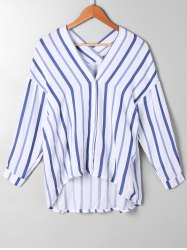 Striped Drop Shoulder High Low Blouse - BLUE STRIPE L