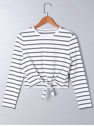 Front Knot Long Sleeve Striped Top - STRIPE M