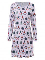 Plus Size Christmas Father Print Long Sleeve Dress - LIGHT PURPLE 3XL