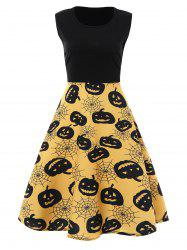 Plus Size Pumpkin Vintage Sleeveless Halloween Dress - YELLOW 3XL