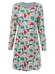 Plus Size Long Sleeve Cute Dress for Christmas Day -