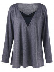 V Neck Long Sleeve Plus Size Tunic T-shirt - GRAY 5XL