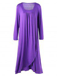 Plus Size Midi Surplice T-shirt Dress - PURPLE 3XL