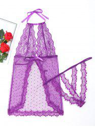 Sheer Halter Babydoll with Lace - PURPLE L