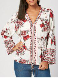 Flower Print V Neck Zip Up Blouse - WHITE M