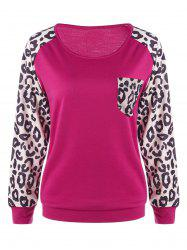 Patch Pocket Leopard Trim Sweatshirt -
