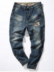 Loose Fit Camouflage Panel Pocket Harem Jeans - DENIM BLUE 30