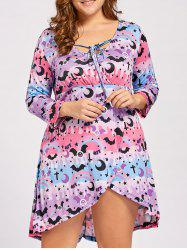 Lace Up High Low Plus  Size Halloween Dress - PINK AND PURPLE 4XL