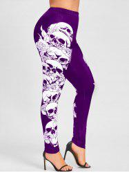 Halloween Plus Size Skulls Monochrome Leggings -
