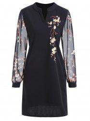 Floral Embroidery Plus Size Mini Dress -