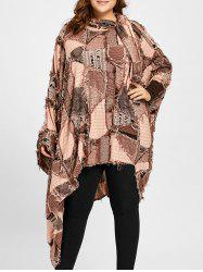 Plus Size Ripped Plaid Poncho T-shirt - CAMEL ONE SIZE