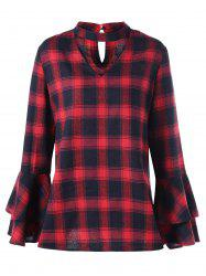 Plus Size Plaid Bell Sleeve Choker Blouse - RED WITH BLACK XL