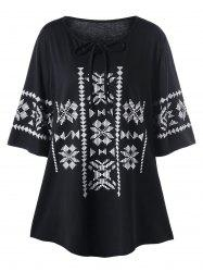 Plus Size Tie Front Monochrome Top - BLACK 3XL