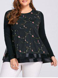 Layered Plus Size Floral Embroidered Blouse - BLACK 3XL