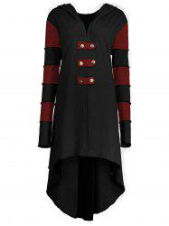Hooded Plus Size Lace-up High Low  Coat - BLACK&RED 2XL