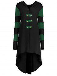 Hooded Plus Size Lace-up High Low  Coat - BLACK AND GREEN 2XL