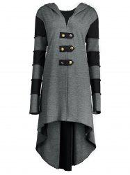 Hooded Plus Size Lace-up High Low  Coat - GRAY 4XL