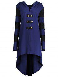 Hooded Plus Size Lace-up High Low  Coat - BLUE 3XL