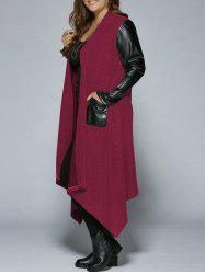 Plus Size PU Leather Trim Longline Asymmetrical Coat - RED 2XL