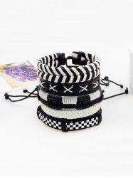 Ensemble Bracelet Tressé en Similicuir Vintage Multi-Couches -