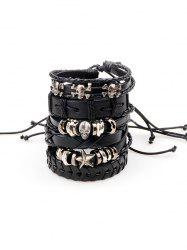 Punk Metallic Skull Star Faux Leather Bracelets -
