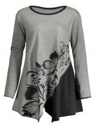 Butterfly Play Flower Plus Size Split T-shirt -