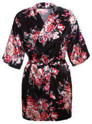 Satin Wrapped Sleepwear Kimono - BLACK XL