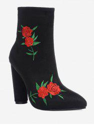 Ankle Rose Embroidery Boots -