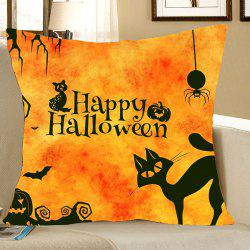 Halloween Cat Pattern Square Pillow Case - ORANGE W18 INCH * L18 INCH