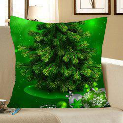Green Christmas Tree Pattern Linen Pillow Case -