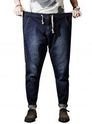 Plus Size Zipper Fly Drawstring Harem Jeans -