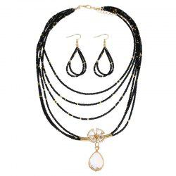Teardrop Flower Beaded Necklace and Earrings -