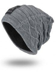Letters Label Double-Deck Thicken Knit Hat - GRAY