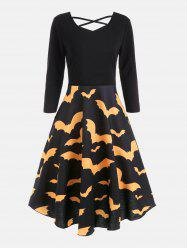 Bat Print Cross Back Fit and Flare Dress -