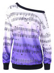 Sweat-shirt Imprimé Notes Musicales Encolure Cloutée Grande Taille -