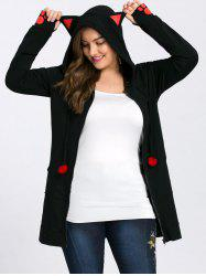 Plus Size Zip Hoodie with Ears - BLACK 5XL