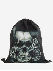 Drawstring Roses Skull Backpack - GRAY