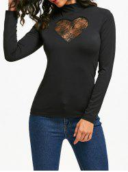 Halloween High Neck Spider Web Cut Out Tee - BLACK M