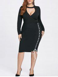 Lace-up Bodycon Plus Size Fitted Choker Dress -