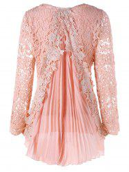 Plus Size High Low Lace Mini Pleated Dress - PINK 4XL