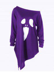 Halloween Plus Size Graphic Asymmetric Skew Neck Sweatshirt - PURPLE 5XL
