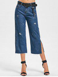 Fringe Side Slit Scratch Denim Capri Pants -