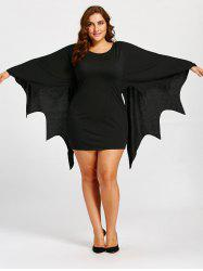 Bat Wings Plus Size Tunic Dress - Black - 5xl