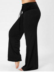 Lace-up Plus Size Two Tone Flare Pants - BLACK 3XL