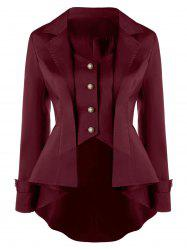 Notched Collar Button Up High Low Coat - DARK RED 2XL